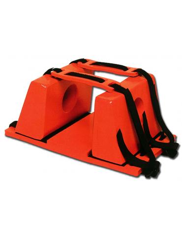 Fermacapo arancione per barelle, realizzato in schiuma PE con vinile, previene qualsiasi movimento della testa del ferito