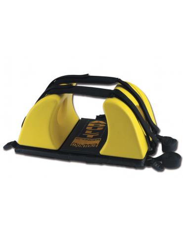 Fermacapo giallo per barelle, realizzato in schiuma PE con vinile, previene qualsiasi movimento della testa del ferito