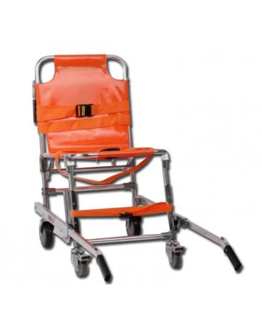 Barella a sedia in alluminio leggero con telo in nylon arancione impermeabile, portata: 150 kg