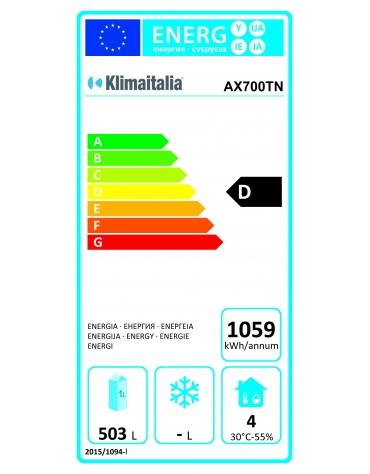 Armadio refrigerato in acciaio inox AISI 304 ventilato GN 2/1 - capacità 650 Lt. - temp. -2° +8°C -mm 740x830x2010h