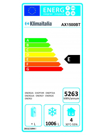 Armadio refrigerato in acciaio inox AISI 304 ventilato 2 porte - capacità 1300 Lt. - temp. -18° +22°C - mm 1480x830x2010h