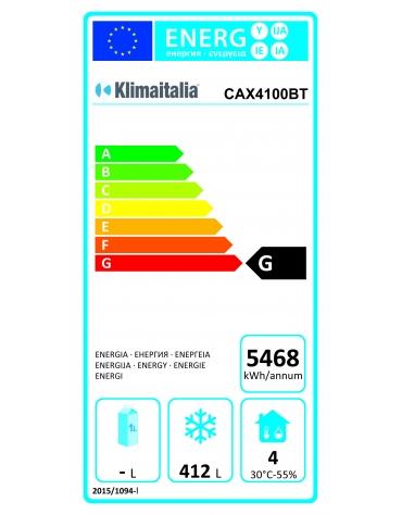 Tavolo refrigerato in acciaio Inox AISI 304 ventilato  - 4 porte - 522 Lt. - temp. -10°-20°C - GN 1/1 - mm 2230x700x860h