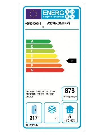 Armadio Refrigerato 600x400 monoblocco in Acciaio Inox a temperatura normale per Pasticceria con 2 sportelli cm 71x80x203h