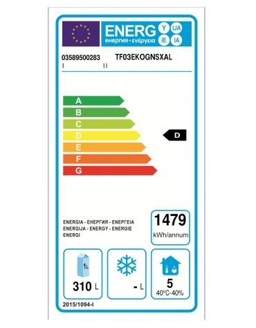 Tavolo Refrigerato a temp. normale con 3 porte, piano in Acciaio Inox, alzatina 100 mm e gruppo motore a sx cm 187x70x95h