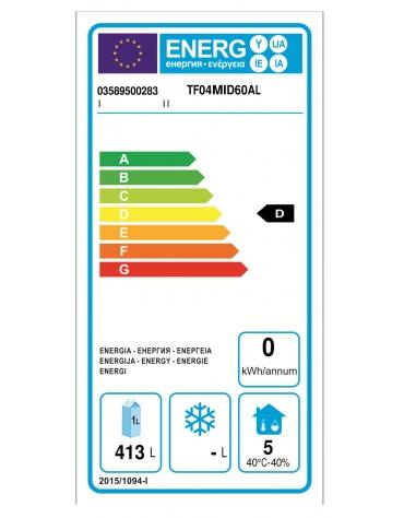 Tavolo Refrigerato a temperatura normale con 4 porte e piano in Acciaio Inox con alzatina 100 mm, cm 236x60x95h