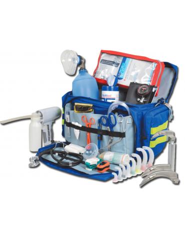 Kit pronto soccorso con borsa smart - media - poliestere 600D blu  completo di accessori - cm 55x35x32h