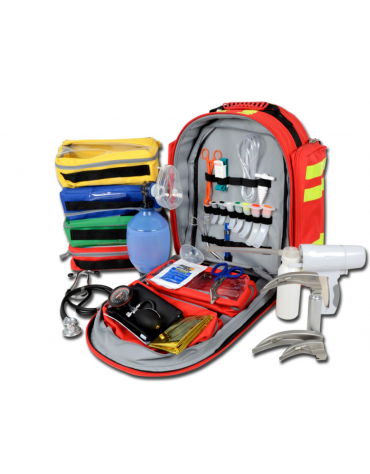 Kit pronto soccorso con zaino Logic 2 - poliestere 600D rosso completo di accessori - cm 40x25x47h