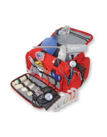 Kit pronto soccorso con borsa emergenza - poliestere 600D rosso completo di accessori - cm 35x45x21h