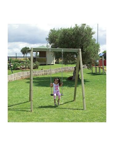 Altalena in legno 1 posto con sedile piano in gomma e trave superiore in legno -  cm. 149 x 180 x 210 h.