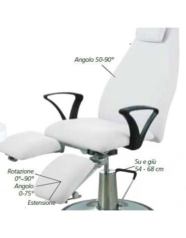 Poltrona podologica meccanica - colore bianco - cm 180x80x51/65h