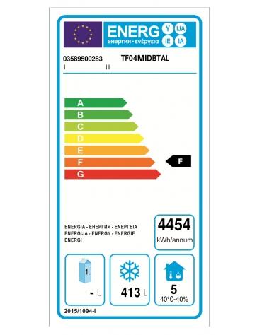 Tavolo Refrigerato GN 1/1 a bassa temperatura con 4 porte e piano in Acciaio Inox con alzatina 100 mm, cm 232x71,5x95h