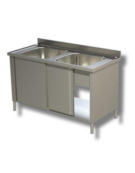 Lavello inox armadiato 2 vasche Dimensioni cm.140x70x85h