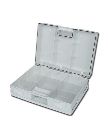 cassetta per kit pronto soccorso in plastica, dotata di supporto per attacco a parete, 2 separatori trasparenti