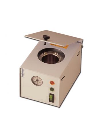 Sterilizzatore a biglie di vetro Quick con termometro in acciaio verniciato con castello in rame cromato - mm 130 x 130 x 190h