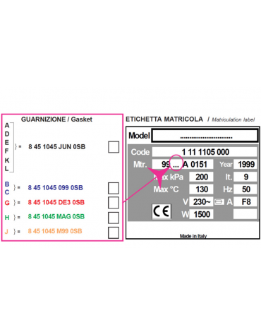 Guarnizione per autoclave verticale H100 (cod. DN34661).