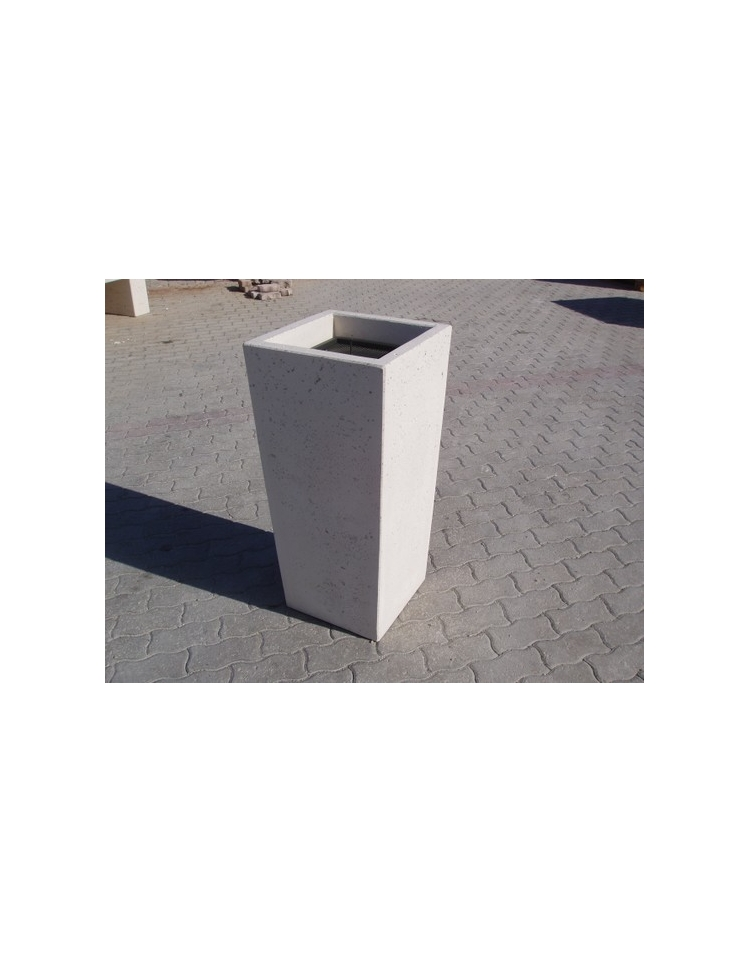 Ceneriera trapezoidale in calcestruzzo colore bianco travertino per esterno cm 41x41x90h - Colore esterno casa bianco ...
