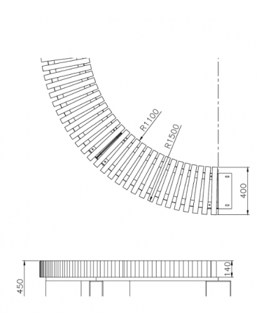 Panchina circolare Porto in legno e acciaio zincato e verniciato nelle varie colorazioni RAL - cm 150x45h