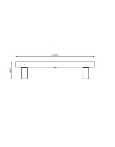 Panchina Porto senza schienale con legno di pregio, in acciaio zincato e verniciato - cm 200x40x44h