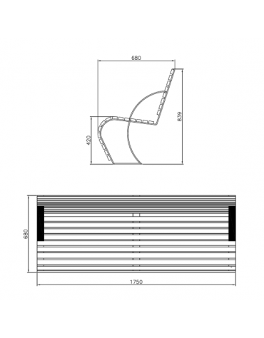 Panchina con schienale in acciaio zincato e verniciato, con legno di pino - cm 175x66x86,4h