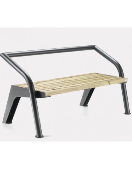 Panchina con seduta in legno e schienale/B in acciaio zincato e ...