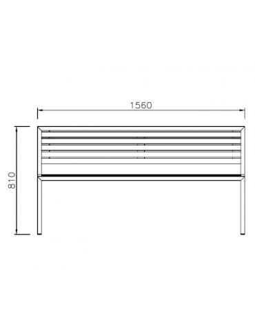 Panchina Carmen con schienale. Struttura in acciaio zincato e verniciato, doghe in legno di pregio - cm 156x55,4x81h
