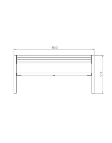 Panchina Bonn con schienale e braccioli, in acciaio zincato e verniciato, con legno di pino - cm 180x58x85,4h