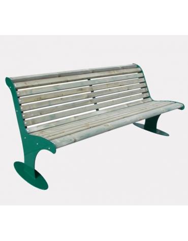 Panchina con schienale in acciaio zincato e verniciato, doghe in legno di pino - cm 181,6x86,8x86,4h