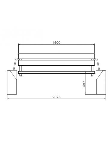 Panchina con schienale, doghe in legno di pino, struttura in acciaio zincato e verniciato e cemento - cm 207,6x67,2x86h