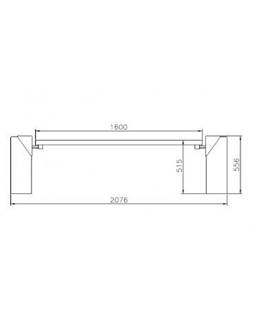 Panchina Cipro senza schienale, doghe in legno di pino, struttura in acciaio zincato verniciato e cemento-cm 207,6x61,2x55,6h