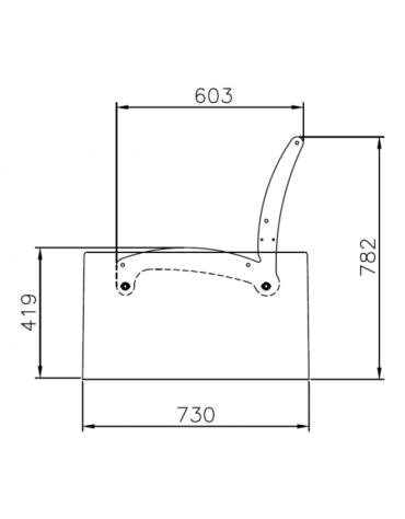 Panchina Tauri C con schienale, doghe in legno di pino, struttura in acciaio zincato e verniciato e cemento - cm 198,8x73x78,2h