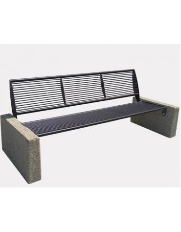 Panchina Pireo in acciaio zincato e verniciato, fianchi in conglomerato di calcestruzzo - cm 189x73x79,4h