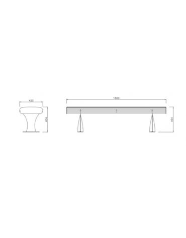 Panchina Garda senza schienale, realizzata interamente in acciaio inox - cm 180x42x45,4h