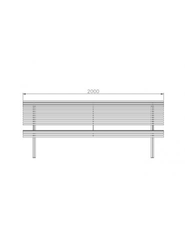 Panchina Koper con schienale, in acciaio zincato e verniciato - cm 200x75,9x81,1h