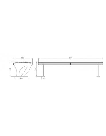 Panchina Koper senza schienale, in acciaio zincato e verniciato - cm 200x60x45h