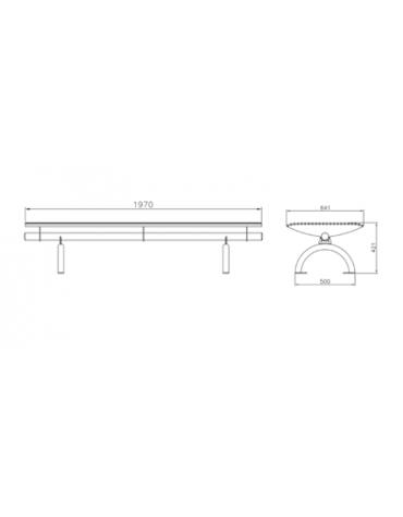 Panchina Rest senza schienale, in acciaio zincato verniciato, seduta realizzata in tondini - cm 197 x 64,1x42,1h