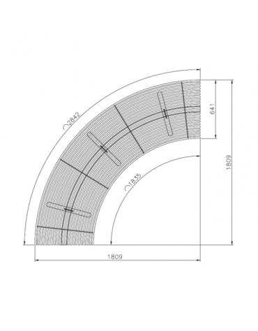 Panchina Rest angolare senza schienale, struttura in acciaio zincato verniciato - cm 180,9x180,9x42,1h