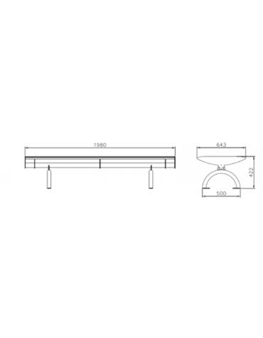 Panchina Best senza schienale, con tubolari collegati tra loro, struttura in acciaio zincato verniciato - cm 198x64,3x42,2h