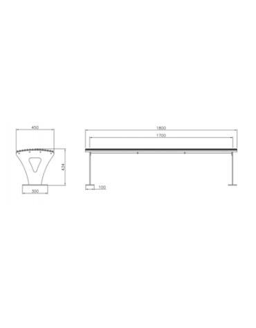 Panchina Athena senza schienale realizzata interamente in acciaio zincato e verniciato - cm 180x45x43,4h