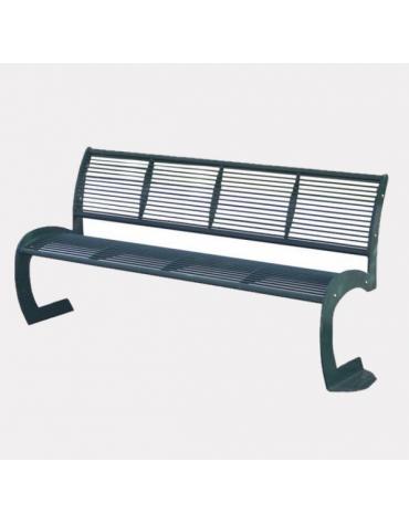 Panchina interamente in acciaio con schienale, seduta formata da trafilati di acciaio e 2 tubolari - cm 162,1x57,3x83,6