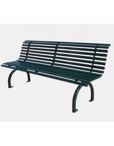 Panchina con schienale realizzata interamente in acciaio zincato e verniciato - cm 200x61,1x86,5h