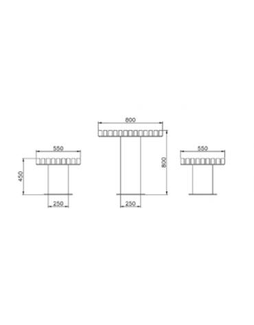 Set composto da un tavolo e due panchine piane in acciaio zincato e verniciato con legno di pregio - cm 230x55x45h