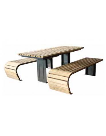 Set composto da un tavolo e due panchine piane con legno di pino - cm 176x50x42h