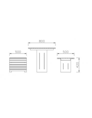 Set composto da un tavolo e due panchine piane con legno di pregio - cm 176x50x42h