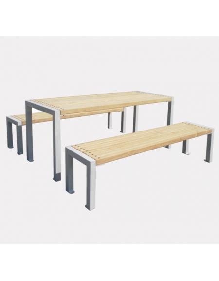 Tavoli In Acciaio E Legno.Set Composta Da Tavolo 2 Panchine In Acciaio Zincato E