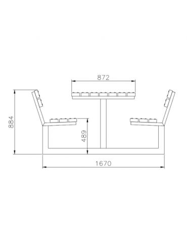 Set composta da tavolo + 2 panchine con schienale, inlegno di pino, struttura in acciaio zincato e verniciato - cm 200x88,4h