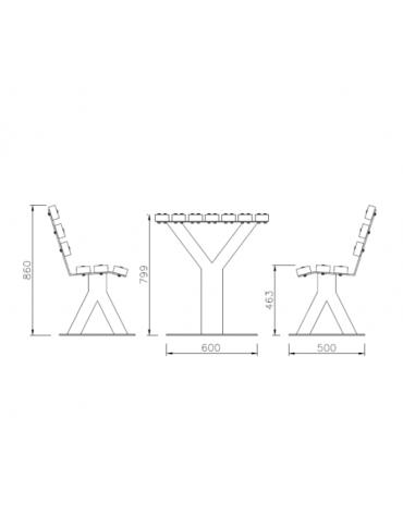 Set composta da tavolo + 2 panchine con schienale in legno di pino, struttura in acciaio zincato e verniciato - cm 200x86h