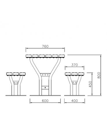 Set composta da tavolo + 2 panchine piane in legno di pino, struttura in acciaio zincato e verniciato - cm 200x80h