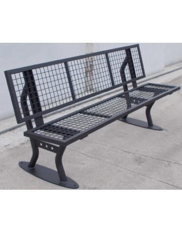 Panchina con schienale in acciaio zincata e verniciata  - cm 182x82,4x45h