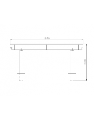 Set composta da tavolo + 2 panchine con schienale, struttura in acciaio zincato e verniciato - cm 197x80h