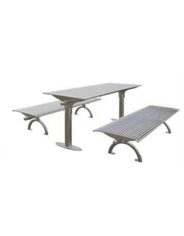 Set composta da tavolo + 2 panchine senza schienale, struttura in acciaio zincato e verniciato - cm 197x80h